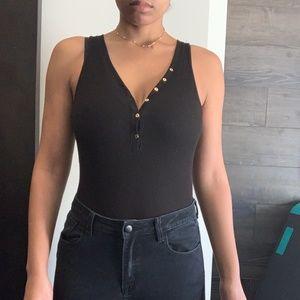 Dynamite Women's ribbed button up bodysuit
